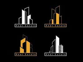 Real estate Logo template design. Modern abstract creative luxury building set vector