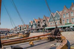 Volendam, Netherlands, Jun 07, 2016 - Boats in the harbor of Volendam photo