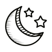 moon and stars doodle line style icon vector
