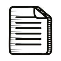 icono de estilo de línea de doodle de papel de documento vector