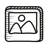 picture file doodle line style icon vector