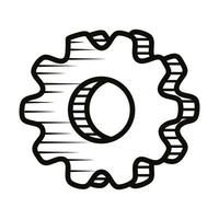 gear settings setup doodle line style icon vector