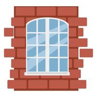 White window on a brick wall, vector illustration in flat style, cartoon, isolated