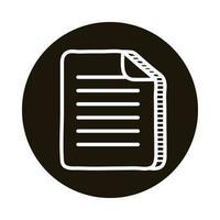 icono de estilo de bloque de doodle de papel de documento vector