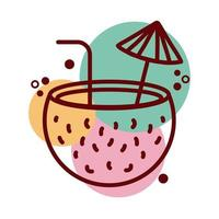 coconut cocktail line and color style icon vector