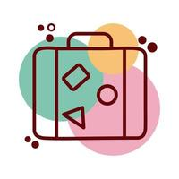 suitcase travel line and color style icon vector