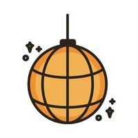 espejos bola disco línea e icono de estilo de relleno vector