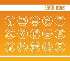 bundle of beach set line and color icons with lettering vector