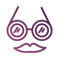 crazy glasses fools day line degradient style icon vector