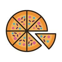 pizza food line and fill style icon vector