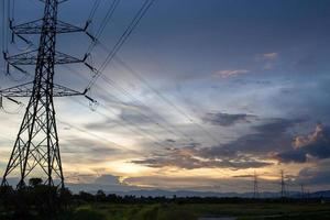 Beautiful sky in the evening and high voltage electricity poles photo