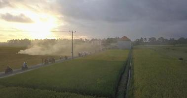 Aerial drone view of farming fields and a road with burning smoke at sunset. video