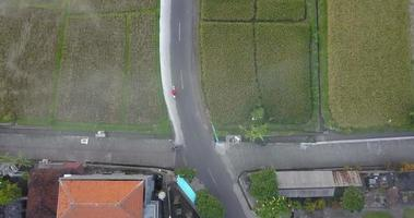 Aerial drone view of a man riding his motocross motorcycle on a road in Bali. video