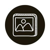 picture file doodle block style icon vector