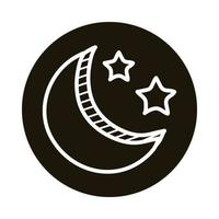 moon and stars doodle block style icon vector