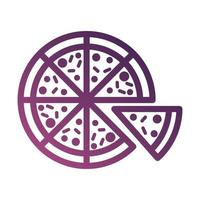 pizza food line degradient style icon vector