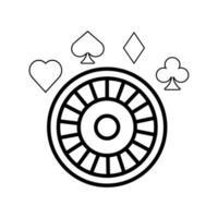 ruleta y figuras de póquer casino vector