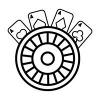 Ruleta y casino de cartas de póquer. vector