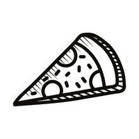 pizza food doodle line style icon vector