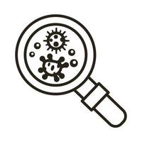 bacteria culture with magnifying glass line style icon vector