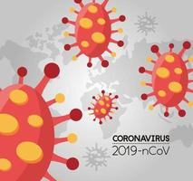 world planet earth with covid 19 particles vector