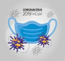 covid 19 particle and face mask vector
