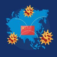 world planet earth with covid 19 particles and china flag vector