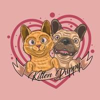 cute kitten and puppy love together illustration vector