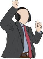 flat character Man in Black Jacket Wearing Black Headphones vector