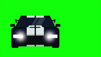 Animation of running sports car with green screen background. video