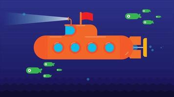 Underwater Submarine with Fishes. Animated video clip in High resolution.