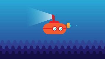 Animated Underwater Submarine. Flat design cartoon video clip in High resolution.
