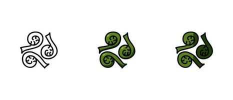 Contour and colored Fiddleheads symbols vector