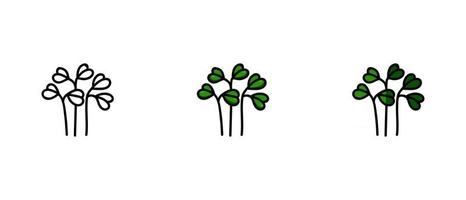 Outline and colored symbols of watercress vector