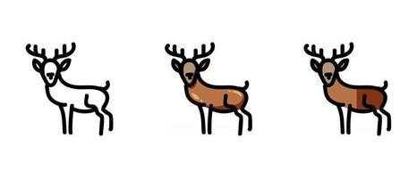 Deer outline and colored symbols vector