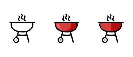Contour and colored grill symbols vector