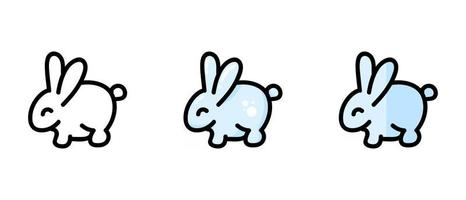 Outline and colored symbols of a rabbit vector