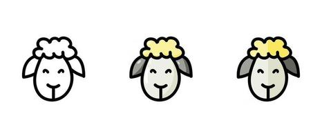 Sheep outline and color symbols vector