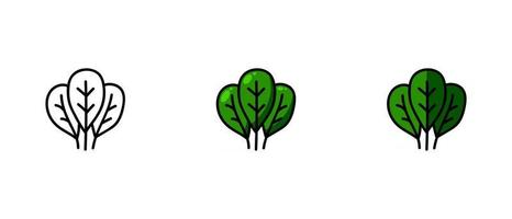 Contour and colored symbols of spinach vector