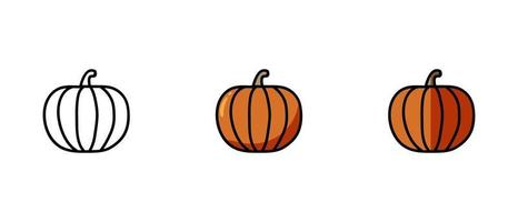 Contour and colored symbols of pumpkin vector