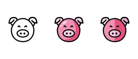 Outline and color symbols of a pig vector