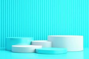 3d background for mock up podium for product presentation, blue background, 3d rendering photo