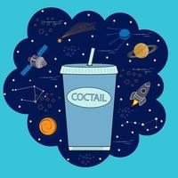 cocktail on the background of space vector