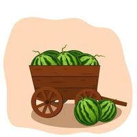 Watermelon harvest in a wooden cart vector