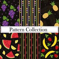A fruity summer pattern on a black background vector