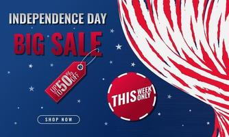Fourth of July Independence Day modern sale banner template design vector
