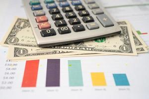 Calculator on chart and graph spreadsheet paper. Finance development, Banking Account, Statistics, Investment Analytic research data economy, Stock exchange trading, Business company concept. photo
