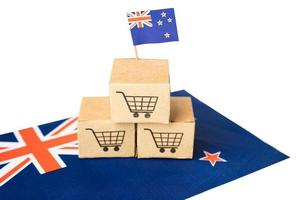Shopping cart logo with New Zealand flag, Shopping online Import Export eCommerce finance business concept. photo