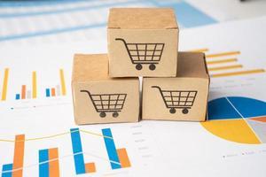 logotipo de carrito de compras en el cuadro sobre fondo gráfico. cuenta bancaria, economía de datos de investigación analítica de inversión, comercio, concepto de empresa en línea de transporte de exportación de importación de negocios. foto