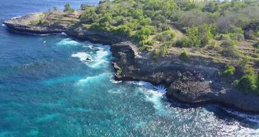 Aerial drone view of a rocky beach coastline. video